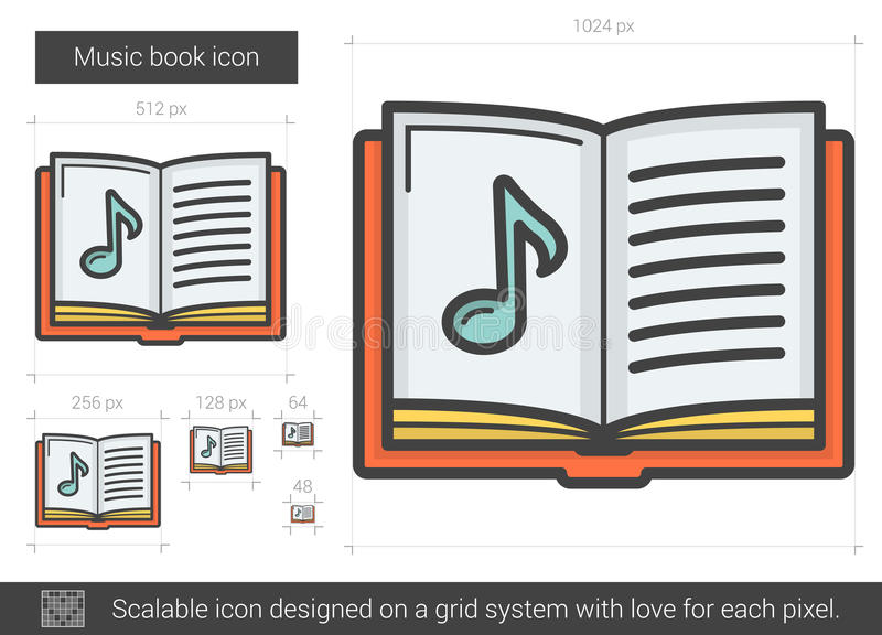 Linje symbol för musikbok royaltyfri illustrationer
