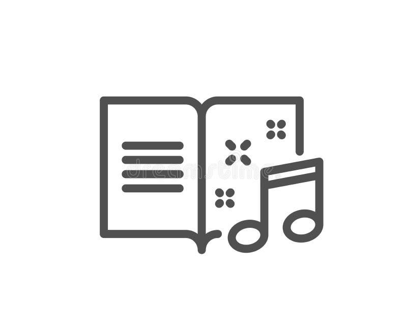 Linje symbol för musikbok musikaliskt anmärkningstecken royaltyfri illustrationer