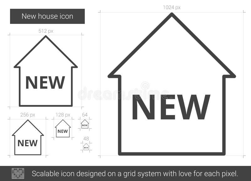 Linje symbol för nytt hus royaltyfri illustrationer