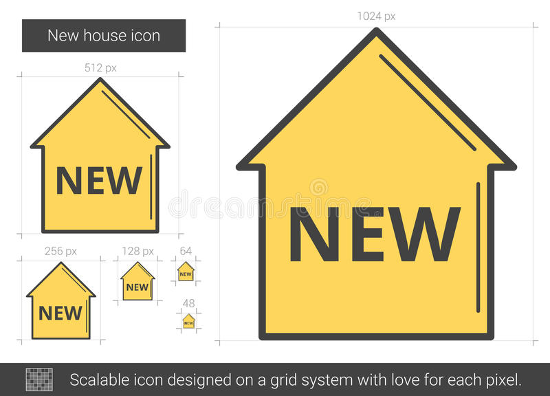 Linje symbol för nytt hus stock illustrationer