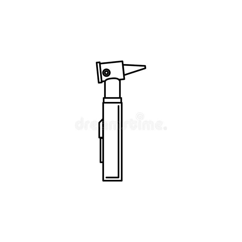 Linje symbol för Otoscopeörakontroll Beståndsdelen av Medecine bearbetar symbolen Högvärdig kvalitets- grafisk design Tecken symb royaltyfri illustrationer