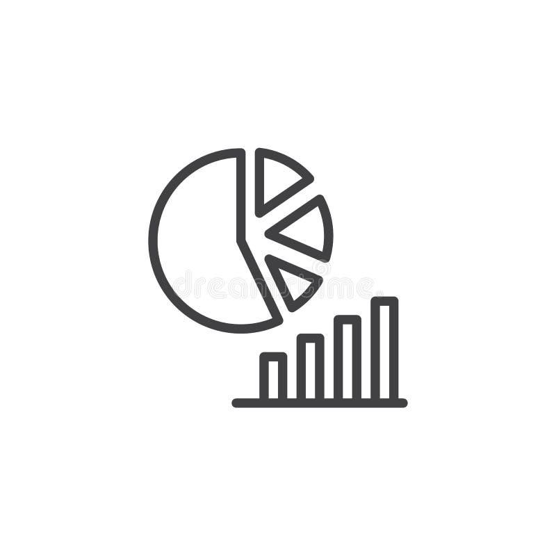 Linje symbol för pajdiagram och för stånggraf royaltyfri illustrationer