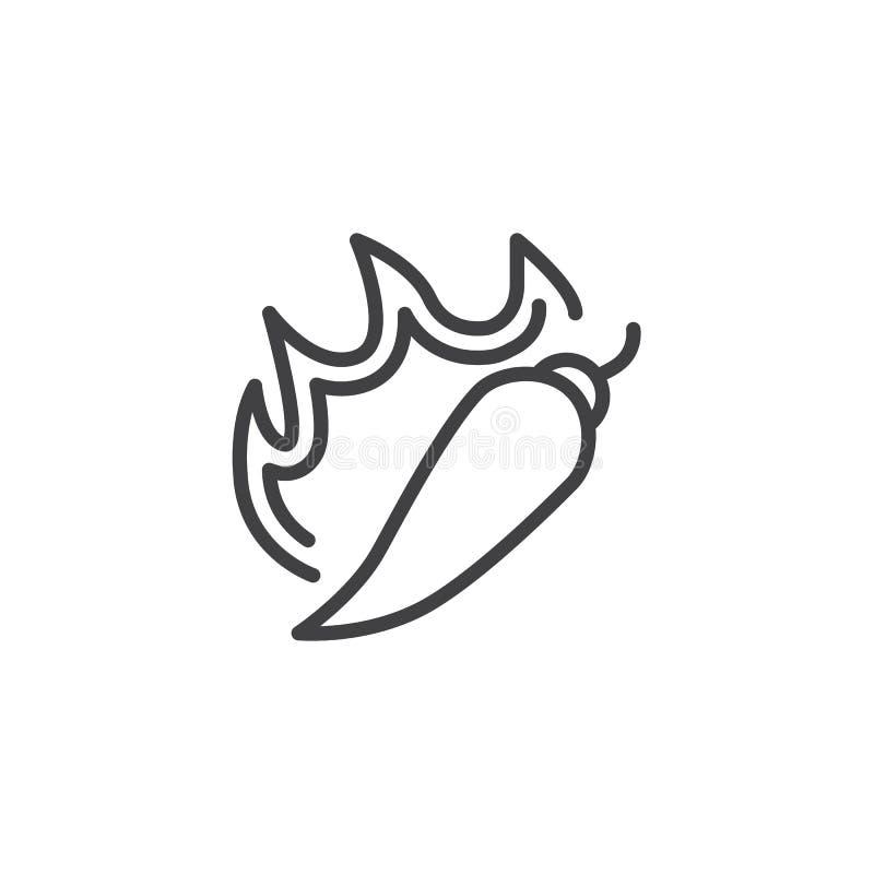 Linje symbol för peppar för varm chili vektor illustrationer