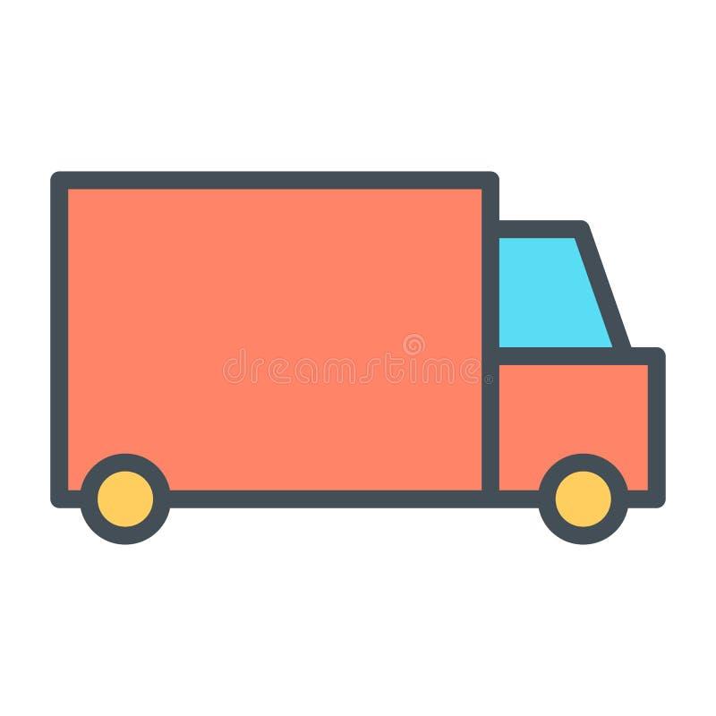 Linje symbol 48x48 för perfekt vektor för PIXEL för leveranslastbil tunn Enkel minsta Pictogram stock illustrationer