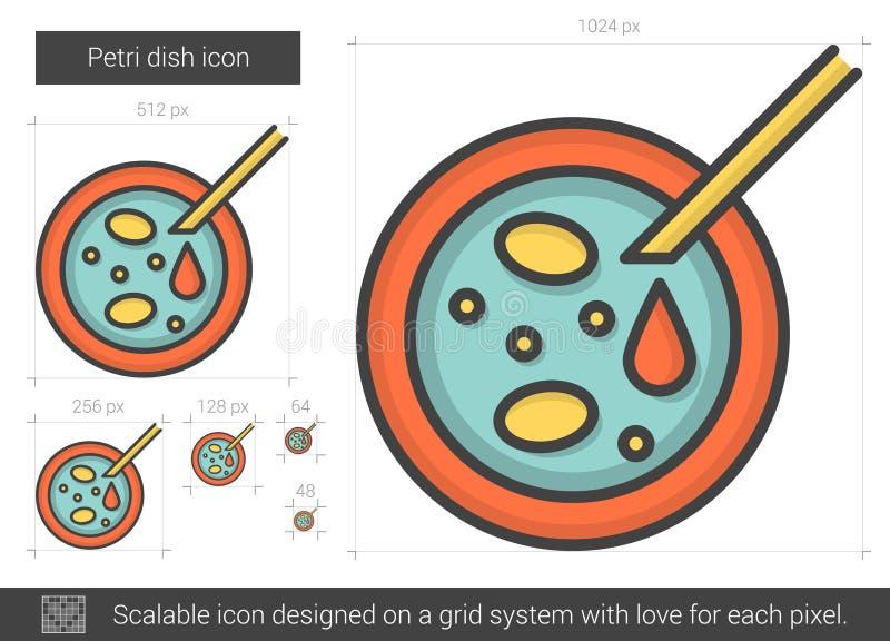 Linje symbol för Petri maträtt royaltyfri illustrationer