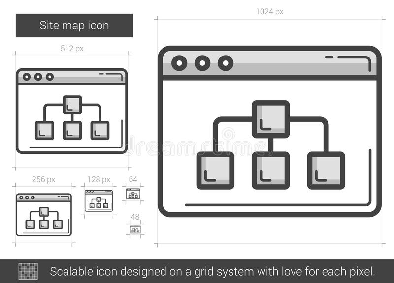 Linje symbol för platsöversikt vektor illustrationer