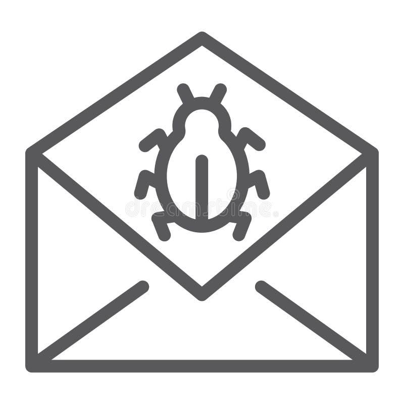 Linje symbol för postvirusattack, meddelande och säkerhet, emailtecken, vektordiagram, en linjär modell på en vit bakgrund royaltyfri illustrationer