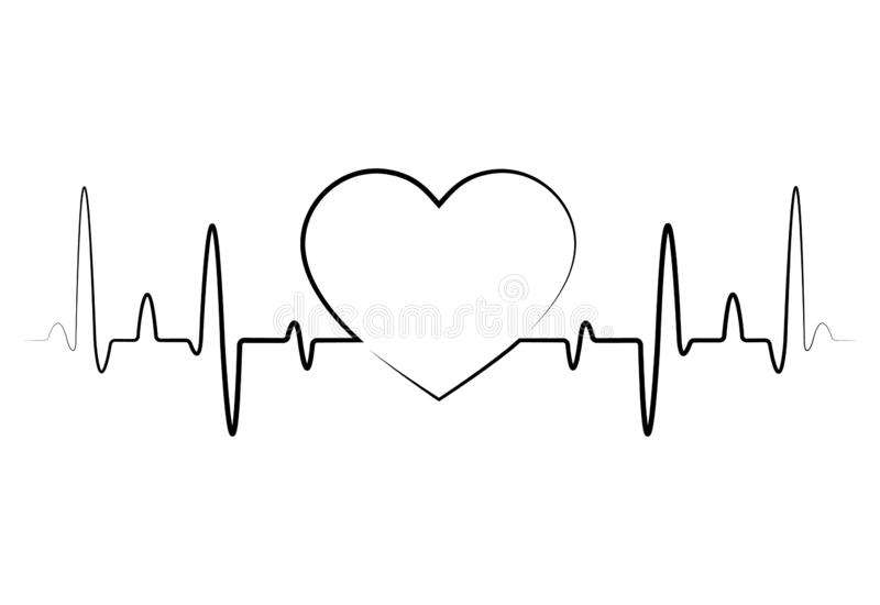 Linje symbol för puls för bildskärm för hjärtatakt för medicinska apps och websites Rött blodtryck, kardiogram, vård- EKG Hjärtak royaltyfri illustrationer