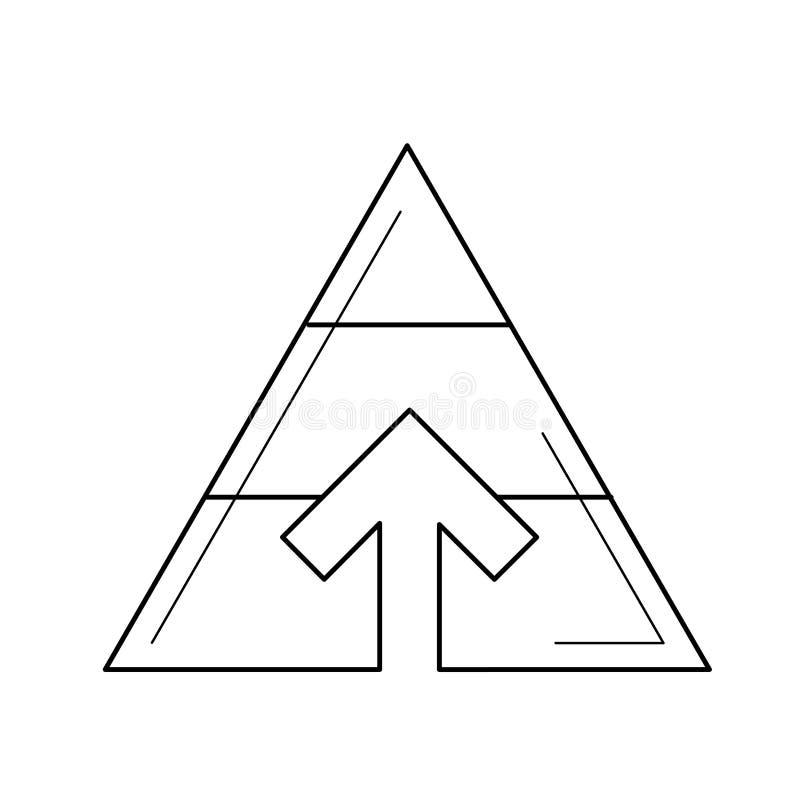 Linje symbol för pyramiddiagramvektor stock illustrationer