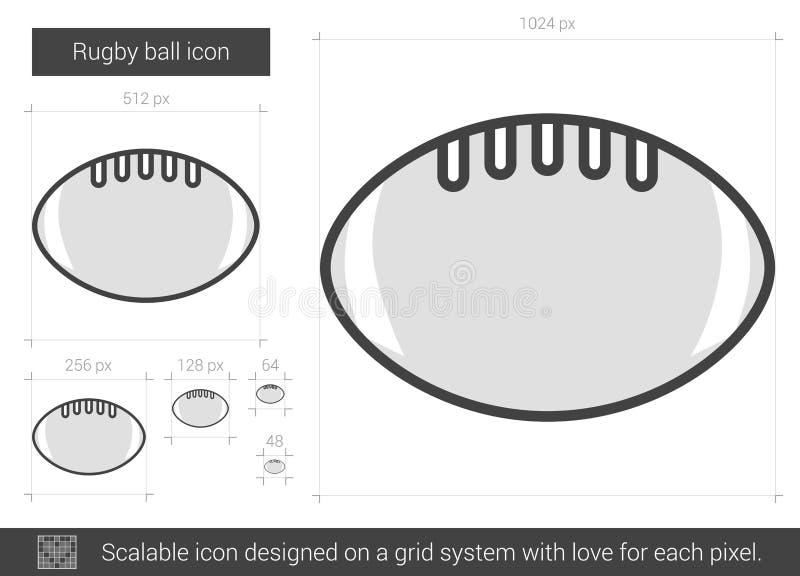 Linje symbol för rugbyboll vektor illustrationer