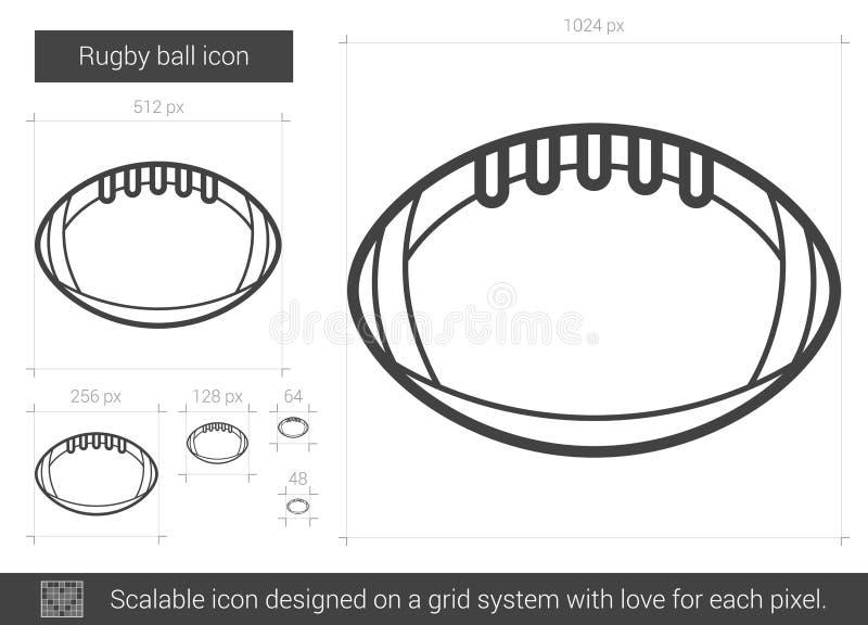 Linje symbol för rugbyboll royaltyfri illustrationer