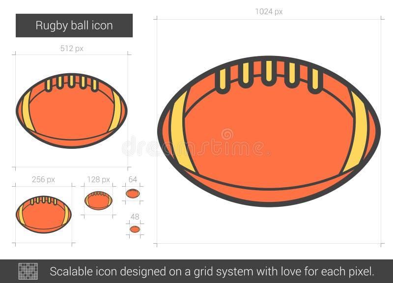 Linje symbol för rugbyboll stock illustrationer