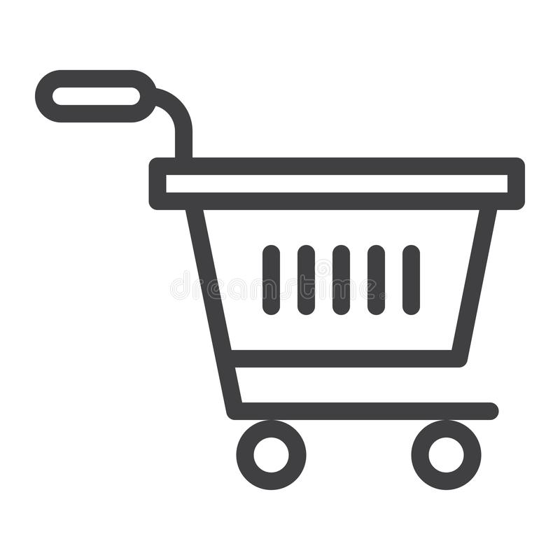 Linje symbol för shoppingvagn stock illustrationer