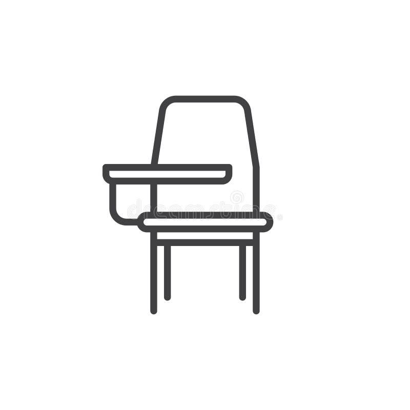 Linje symbol för skolaskrivbordstol vektor illustrationer