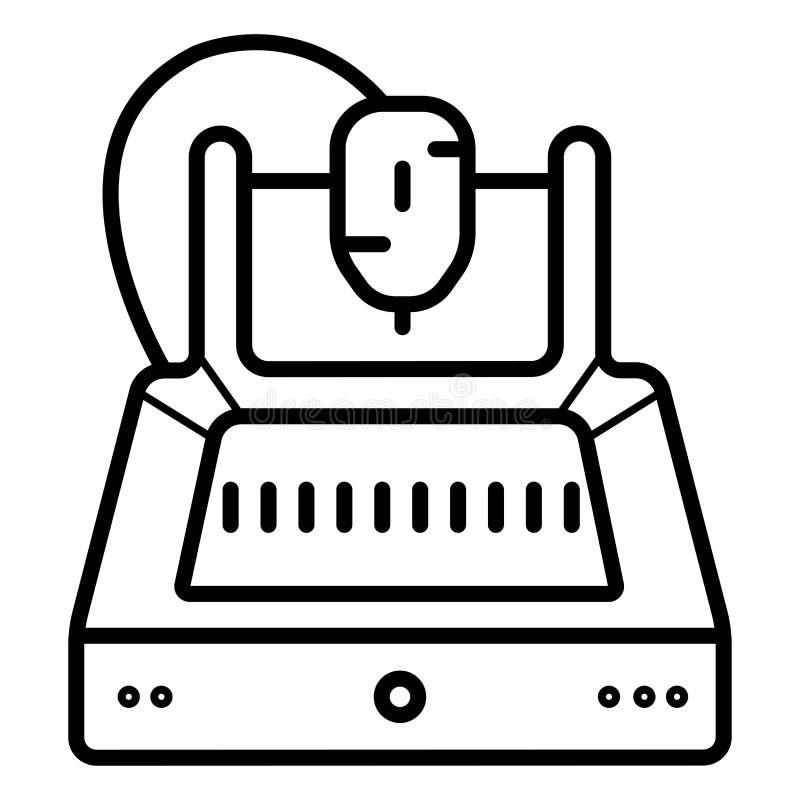 linje symbol f?r skrivare 3d royaltyfri illustrationer