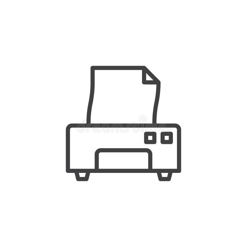 Linje symbol för skrivare och för pappers- dokument stock illustrationer