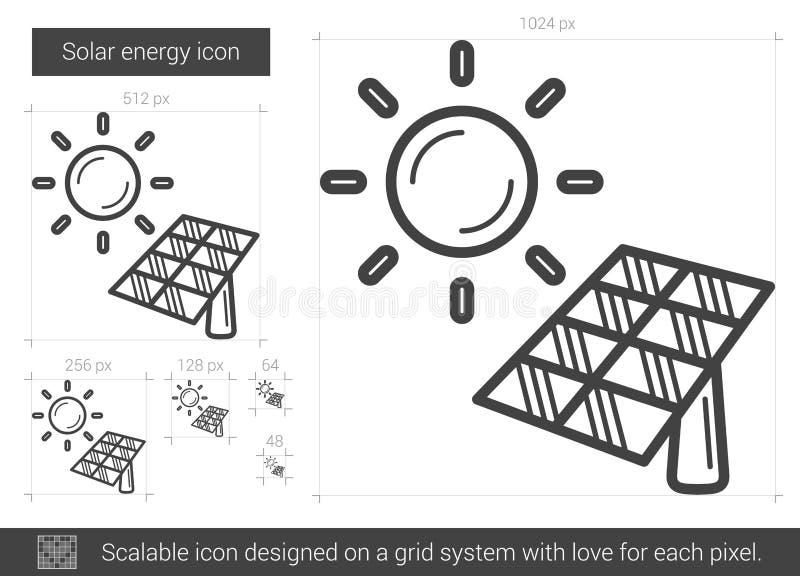 Linje symbol för sol- energi vektor illustrationer