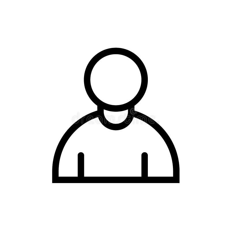 Linje symbol för svart för avatar för användareprofil stock illustrationer