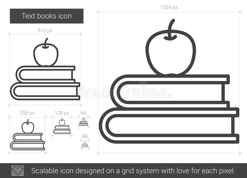 Linje symbol för textböcker royaltyfri illustrationer