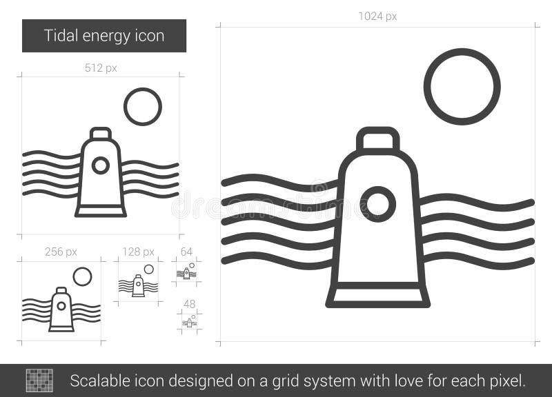 Linje symbol för tidvattens- energi royaltyfri illustrationer