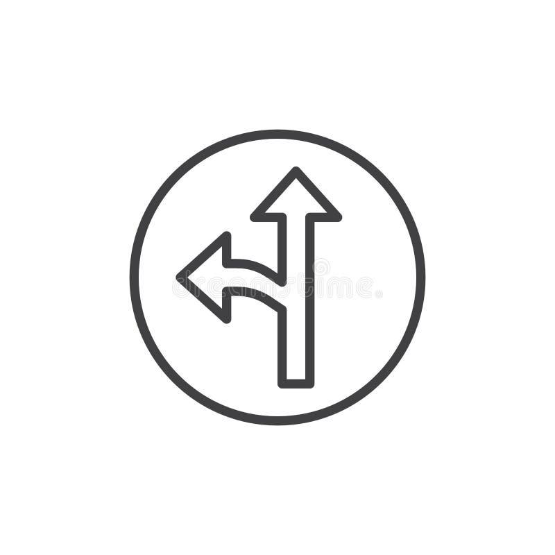 Linje symbol för vänster och rak pil stock illustrationer