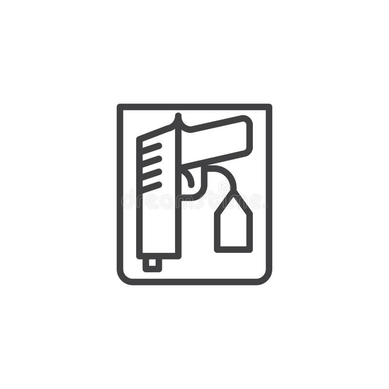 Linje symbol för vapenprovexemplartecken vektor illustrationer
