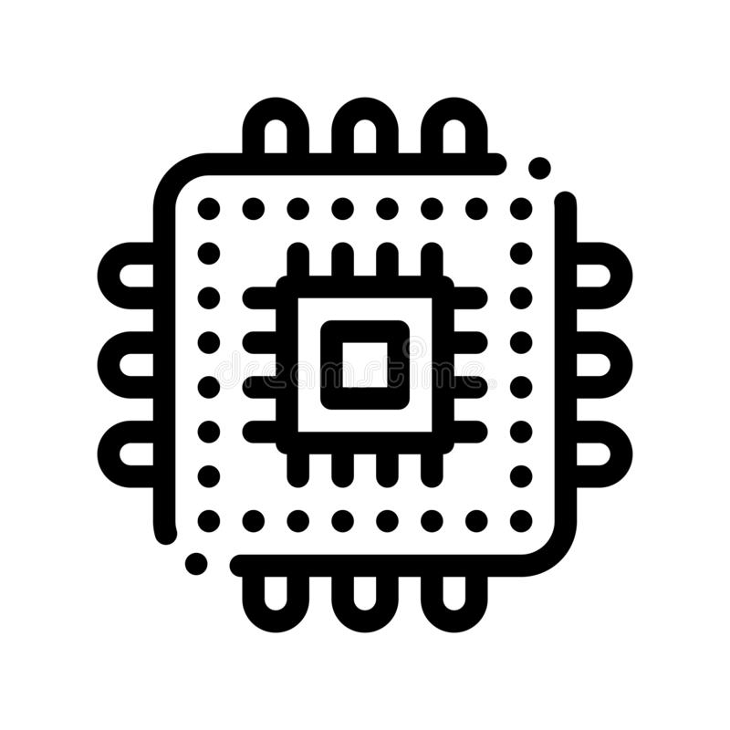 Linje symbol för vektor för datorbeståndsdelprocessor tunn vektor illustrationer