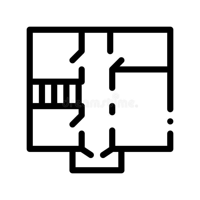 Linje symbol för vektor för huslägenhetplanläggning tunn royaltyfri illustrationer