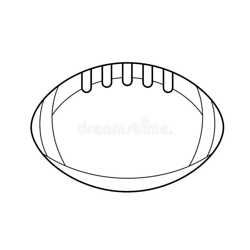 Linje symbol för vektor för rugbyboll stock illustrationer