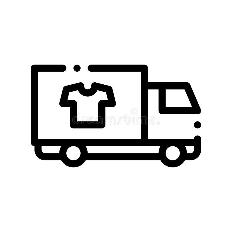 Linje symbol för vektor för tvätteriserviceleverans tunn vektor illustrationer