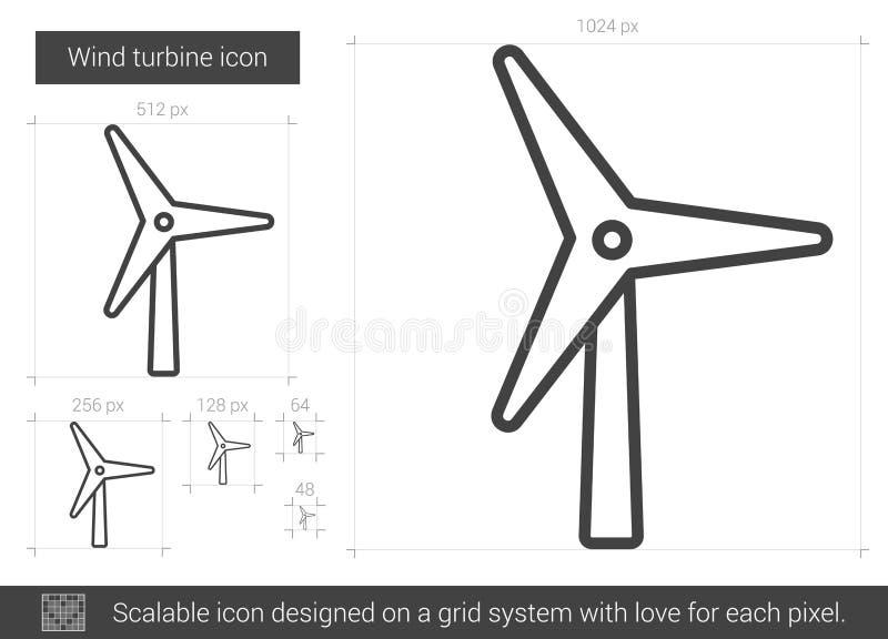 Linje symbol för vindturbin stock illustrationer