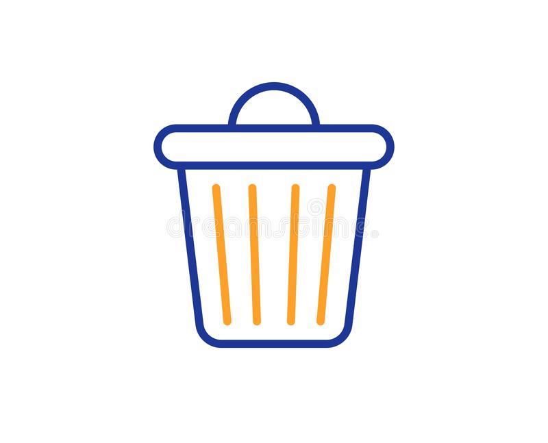 Linje symbol f?r avfallfack Avskr?de avfallstecken Borttagnings tar bort vektor vektor illustrationer