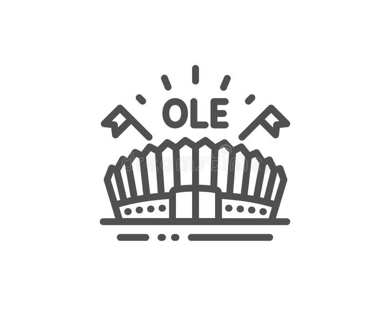 Linje symbol f?r sportarena Stadion med flaggor undertecknar Sportkomplex vektor royaltyfri illustrationer