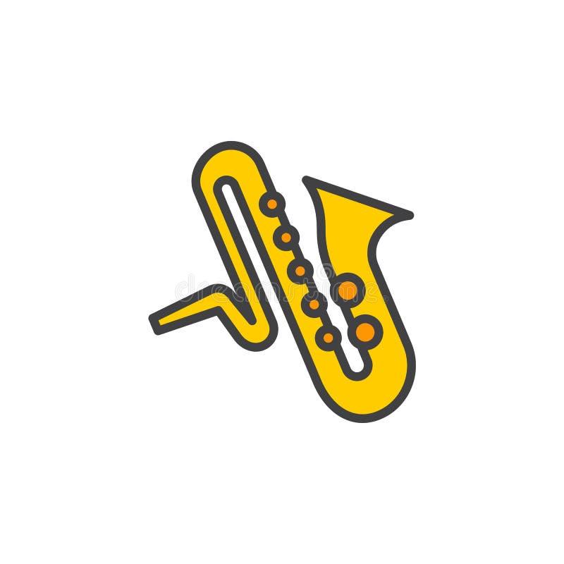 Linje symbol, fyllt översiktsvektortecken, linjär färgrik pictogram för saxofonmusikinstrument på vit royaltyfri illustrationer