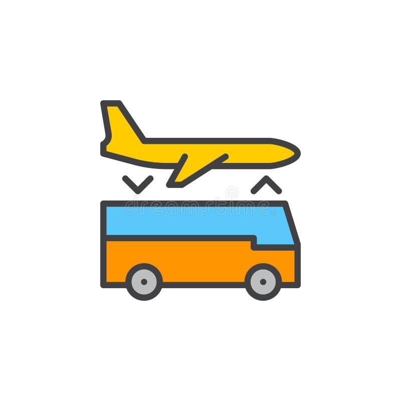 Linje symbol, fyllt översiktsvektortecken, linjär färgrik pictogram som för överföring för flygplatsanslutning tjänste- isoleras  royaltyfri illustrationer
