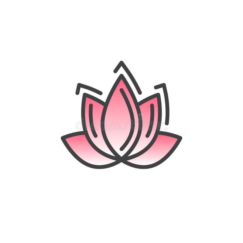 Linje symbol, fyllt översiktsvektortecken, linjär färgrik pictogram som för Lotus blomma isoleras på vit vektor illustrationer
