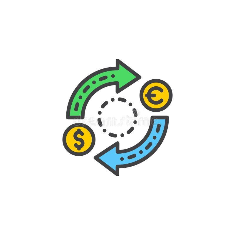 Linje symbol, fyllt översiktsvektortecken, linjär färgrik pictogram som för valutautbyte isoleras på vit vektor illustrationer