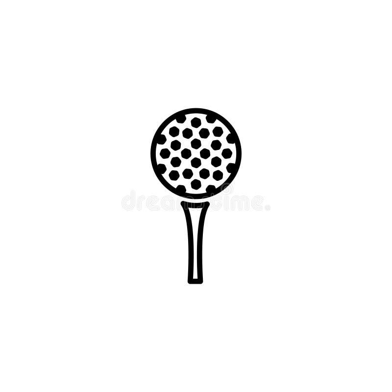 Linje symbol Golf golfboll på utslagsplats royaltyfri illustrationer