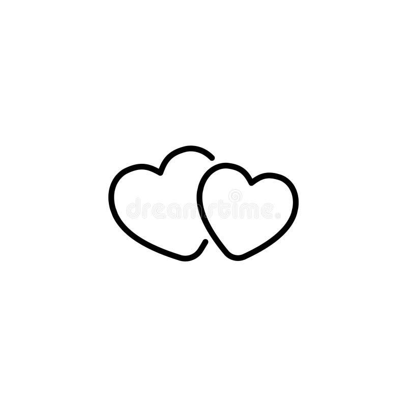 Linje symbol hjärtor två stock illustrationer