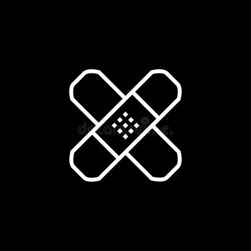 Linje symbol, illustration för översiktsvektorlogo, linjär pictogram som för självhäftande murbruk isoleras på svart royaltyfri illustrationer