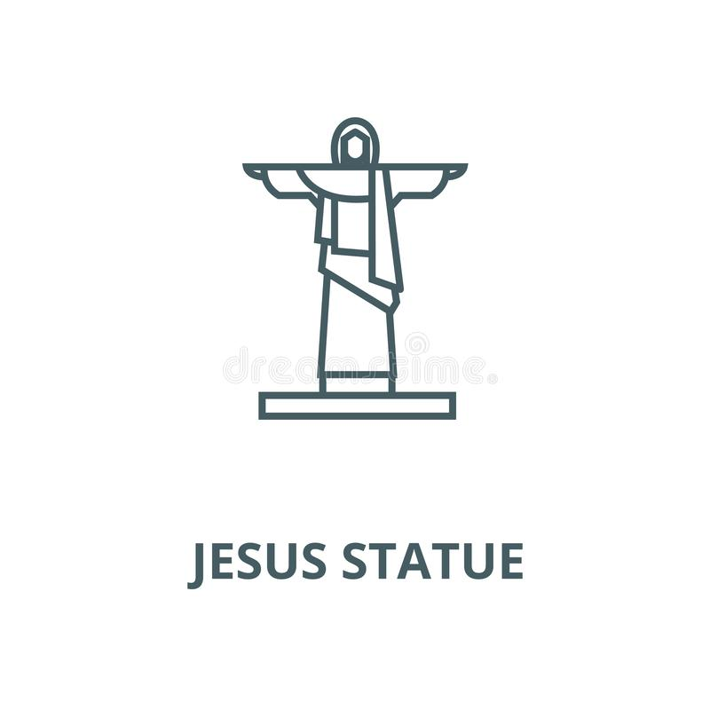Linje symbol, linjärt begrepp, översiktstecken, symbol för Jesus statyvektor vektor illustrationer