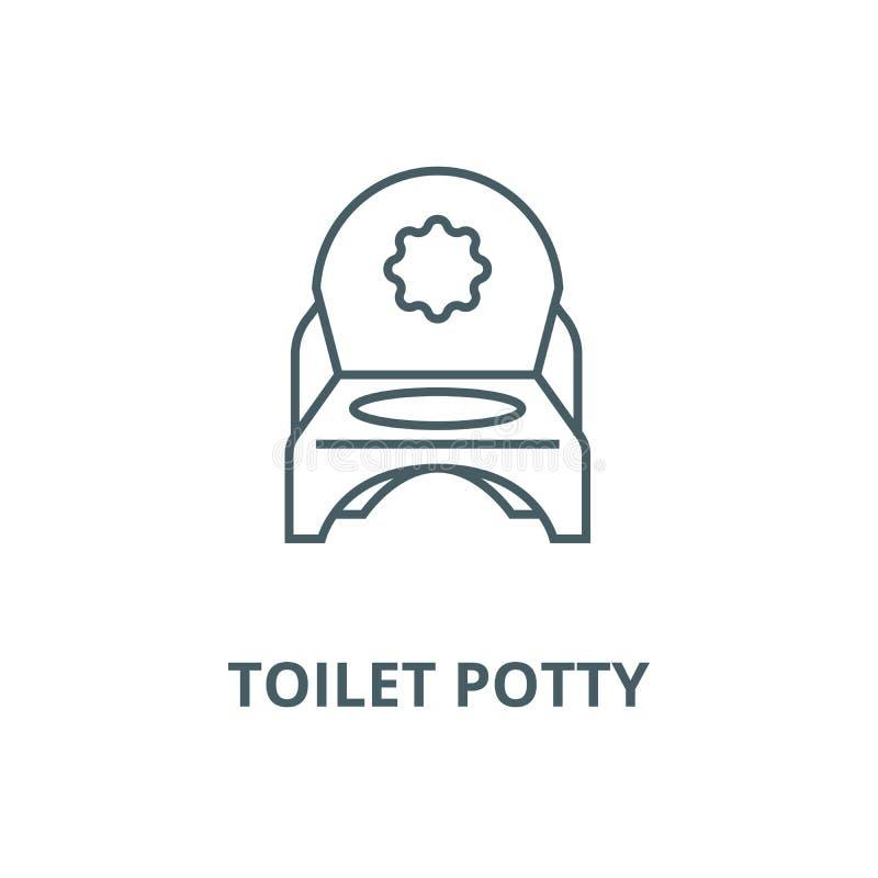 Linje symbol, linjärt begrepp, översiktstecken, symbol för toalettpottavektor vektor illustrationer