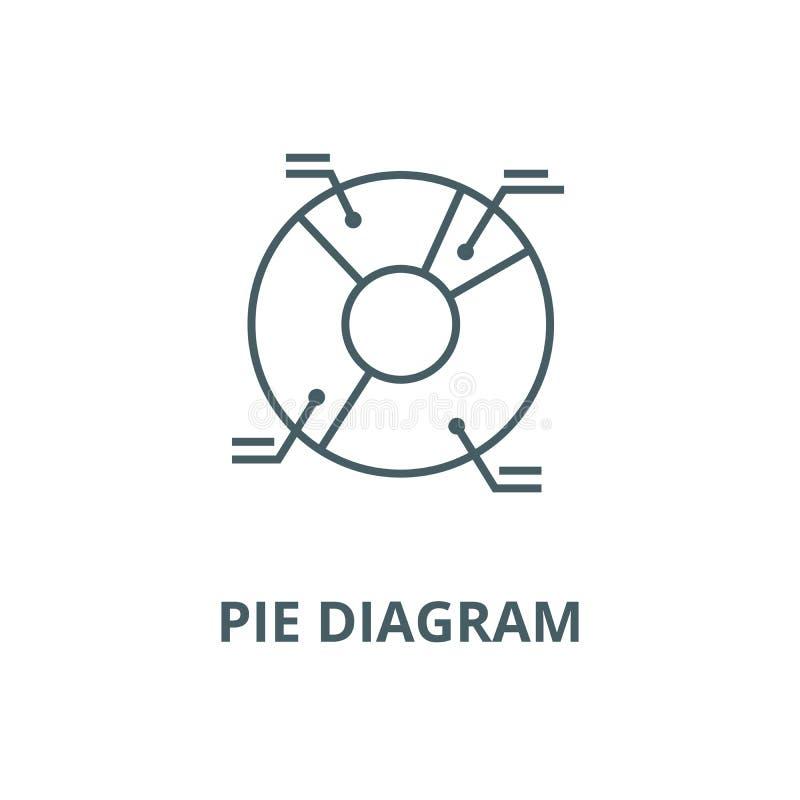 Linje symbol, linjärt begrepp, översiktstecken, symbol för vektor för illustration för pajdiagram royaltyfri illustrationer