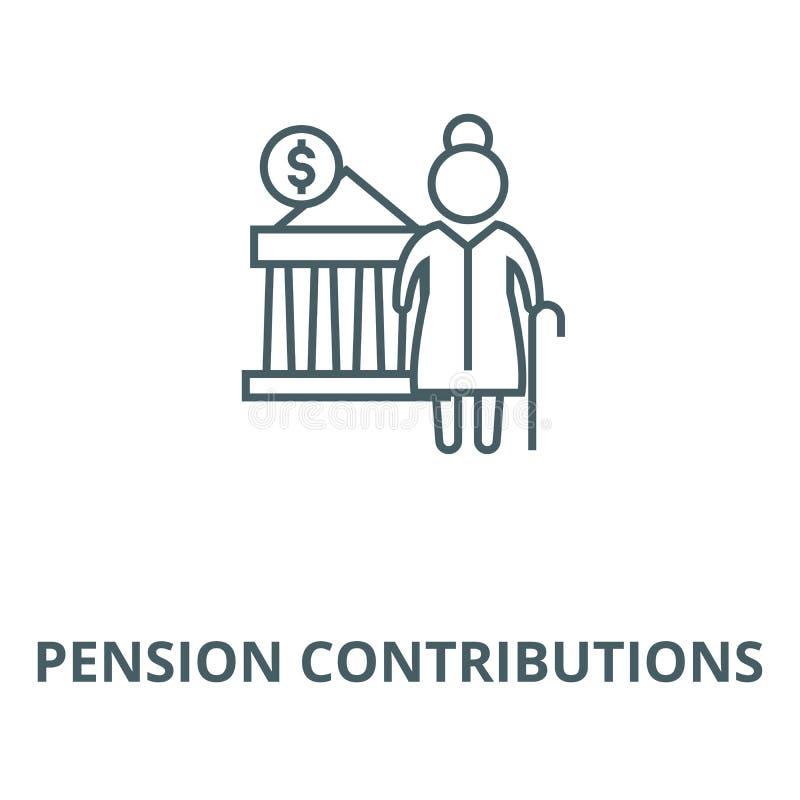 Linje symbol, linjärt begrepp, översiktstecken, symbol för vektor för pensionbidrag vektor illustrationer