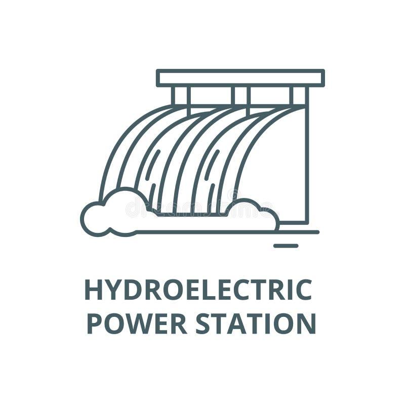 Linje symbol, linjärt begrepp, översiktstecken, symbol för vektor för vattenkraftstation stock illustrationer