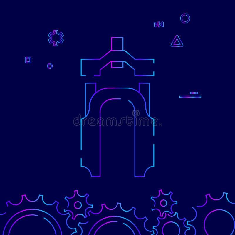 Linje symbol, symbol, Pictogram, tecken för mountainbikegaffelvektor på ett mörkt - blå bakgrund Släkt nedersta gräns stock illustrationer