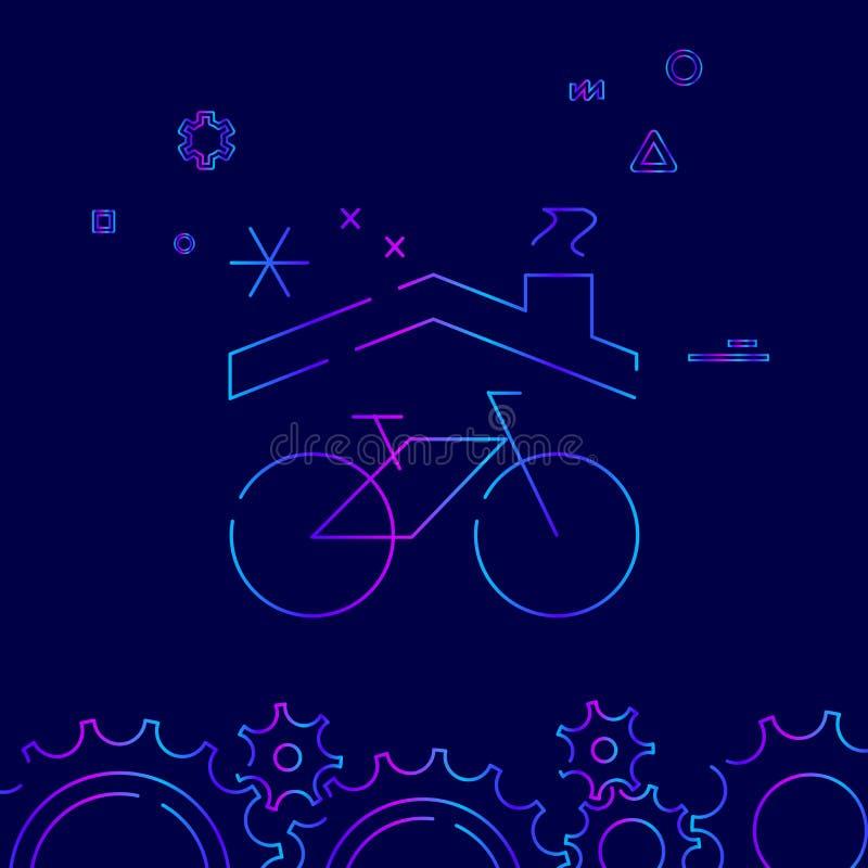 Linje symbol, symbol, Pictogram, tecken för vektor för cykel- eller cykelvinterlagring på mörkt - blå bakgrund Släkt nedersta grä vektor illustrationer