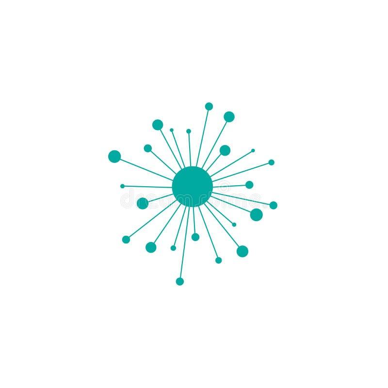 Linje symbol som för navnätverksanslutning isoleras på vit Tech- eller teknologilogo Knapp för server eller för central databas royaltyfri illustrationer