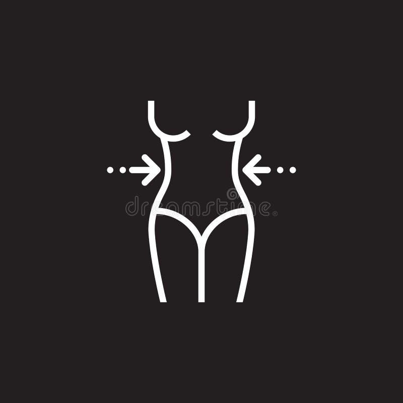 Linje symbol, tecken för vektor för översikt för midja för kvinna` s, linjär pictogram som för viktförlust isoleras på svart vektor illustrationer