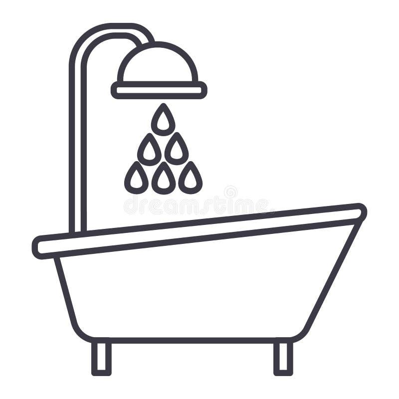Linje symbol, tecken, illustration för badkarduschvektor på bakgrund, redigerbara slaglängder vektor illustrationer